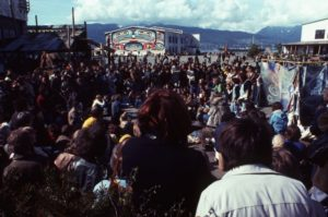 Crowd at Habitat Forum, 1976, with Bill Reid mural